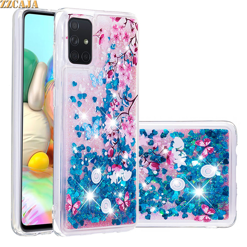 Glitter Liquid Quicksand For Samsung Galaxy S20 Plus S20+ Ultra A71 A51 Case Soft Silicon Shiny Bling Fluid Cute Owl Phone Cover image