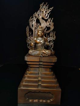 Decoración de boda boj chino Seikos tallado en madera myo-o/Acalanatha Protector estatua de deidad de Buda Immobile Pluto