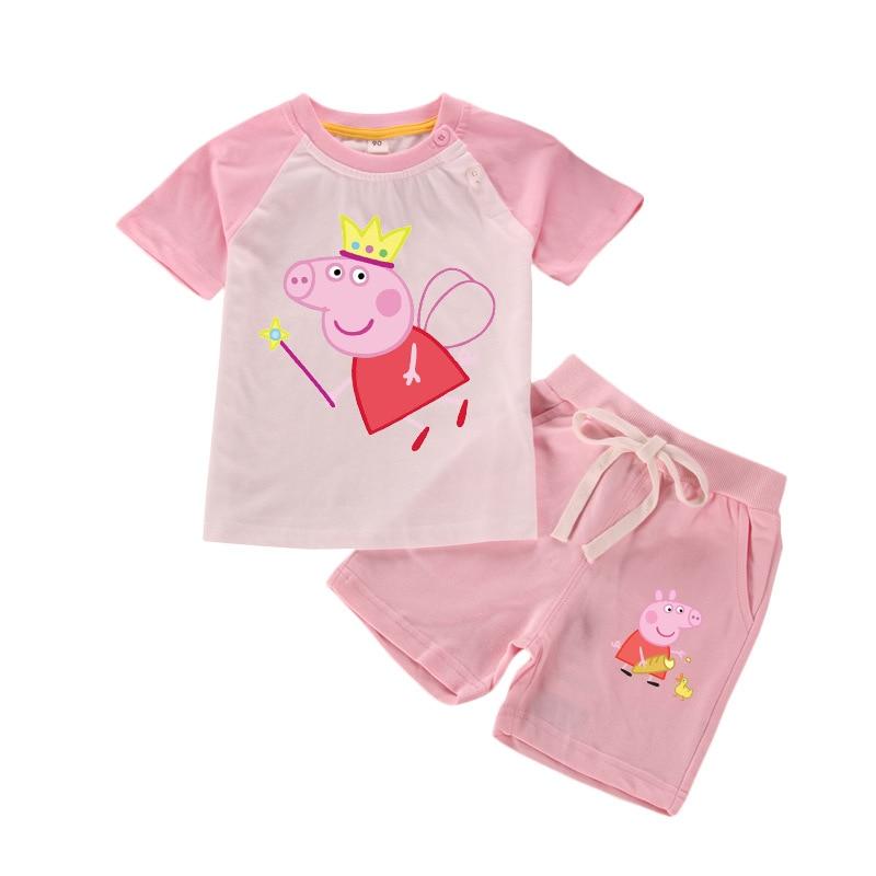 Peppa Pig Cartoon Children's Clothes Spring Baby Kids Sets Children Chase Rocky Short Sleeve Toy Plus Velvet Sweater Suit Dolls