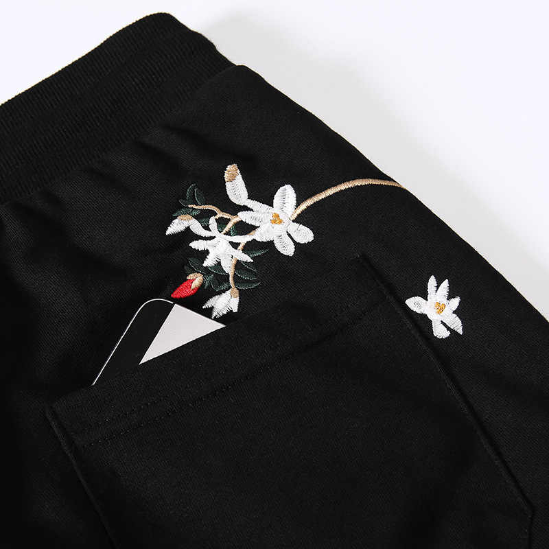 Nova chegada hip hop bordado harem calças masculinas preto joggers com cordão calças de fitness solto casual sólido sweatpants