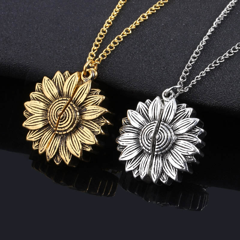 SG Vintage Sunflower Necklace You Are My Sunshine Open Locket Sunflower Charms Collar For Women Girls Fashion Jewelry Gift