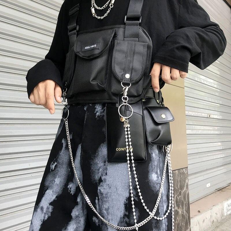 Męskie Torby Taktyczne W Klatce Piersiowej Unisex Fashion Function Torba Na Klatkę Piersiową Streetwear Torba Hip-hopowa Regulowana Tkanina Oxford Kamizelka W Talii