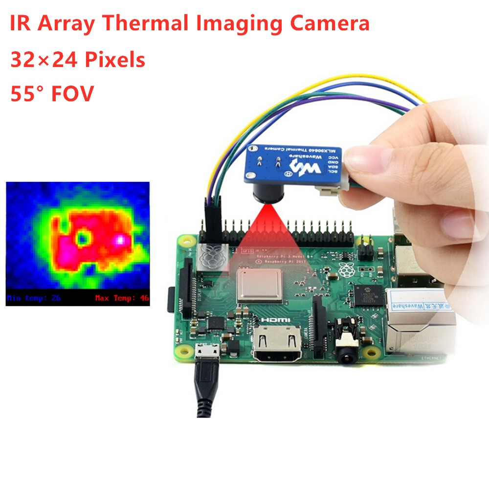Waveshare  IR Array Thermal Imaging Camera, 32×24 Pixels, 55° Field Of View, I2C Interface,MLX90640