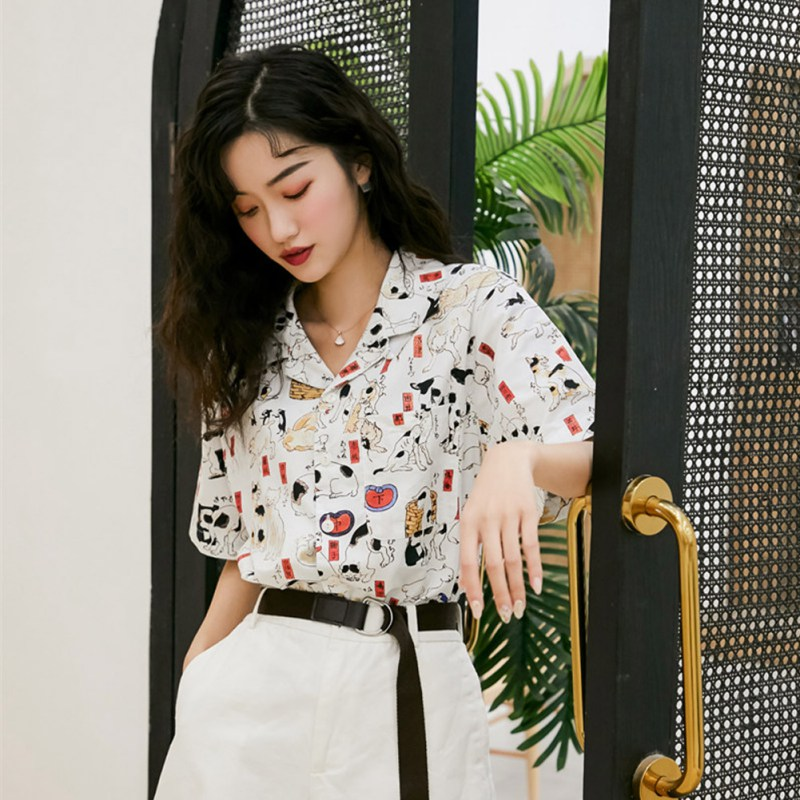 2019 New Summer Vintage Women Tops and Blouses Cat Print Shirt Lapel Short Sleeve Loose Casual Female Clothes Fashion Blouses in Blouses amp Shirts from Women 39 s Clothing