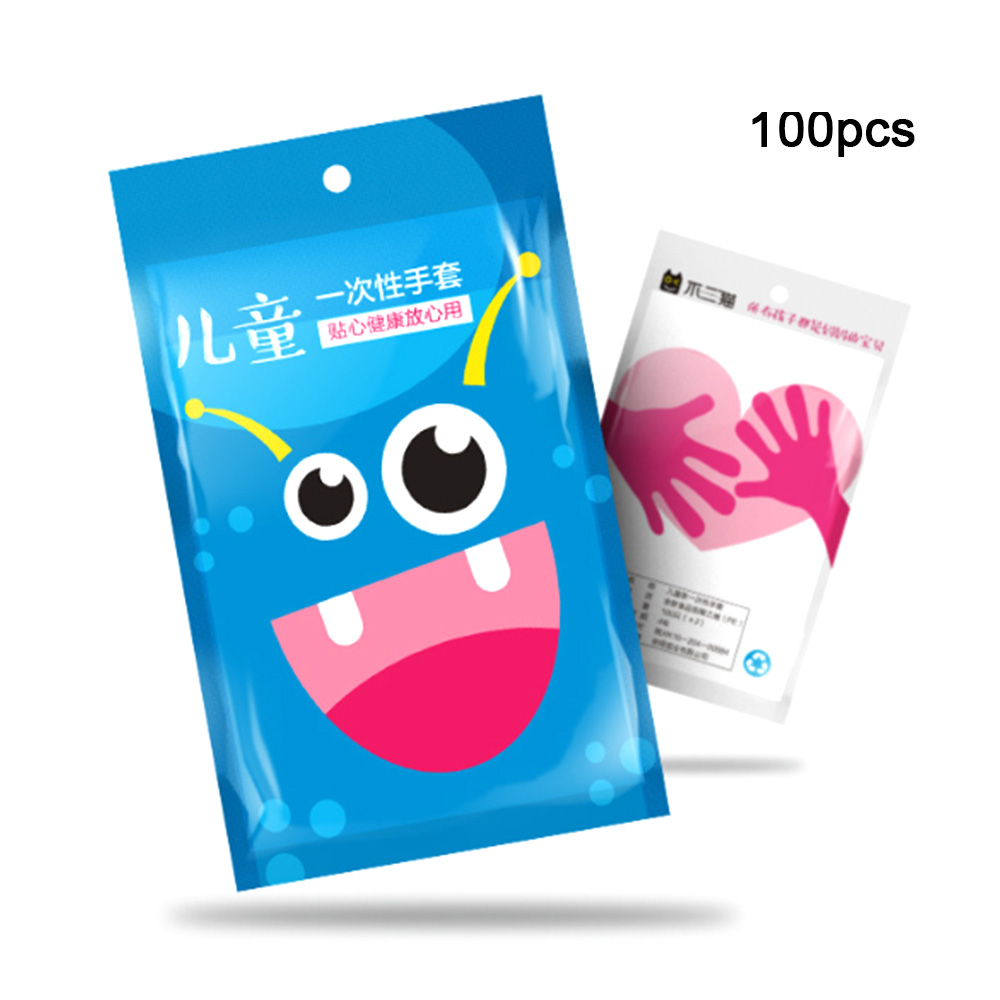 100 Pcs Children's Disposable Gloves Thick Hand Protection Gloves PE Film Plastic Gloves For 4 ~ 12 Years Old Kid's