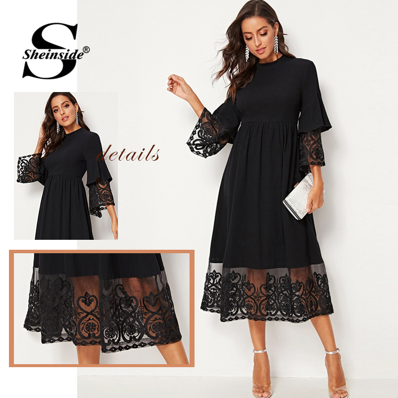 Image 5 - Sheinside Elegant Embroidered Mesh Pleated Dress Women 2019 Autumn 3/4 Sleeve Midi Dresses Ladies Layered Flounce Sleeve Dress-in Dresses from Women's Clothing