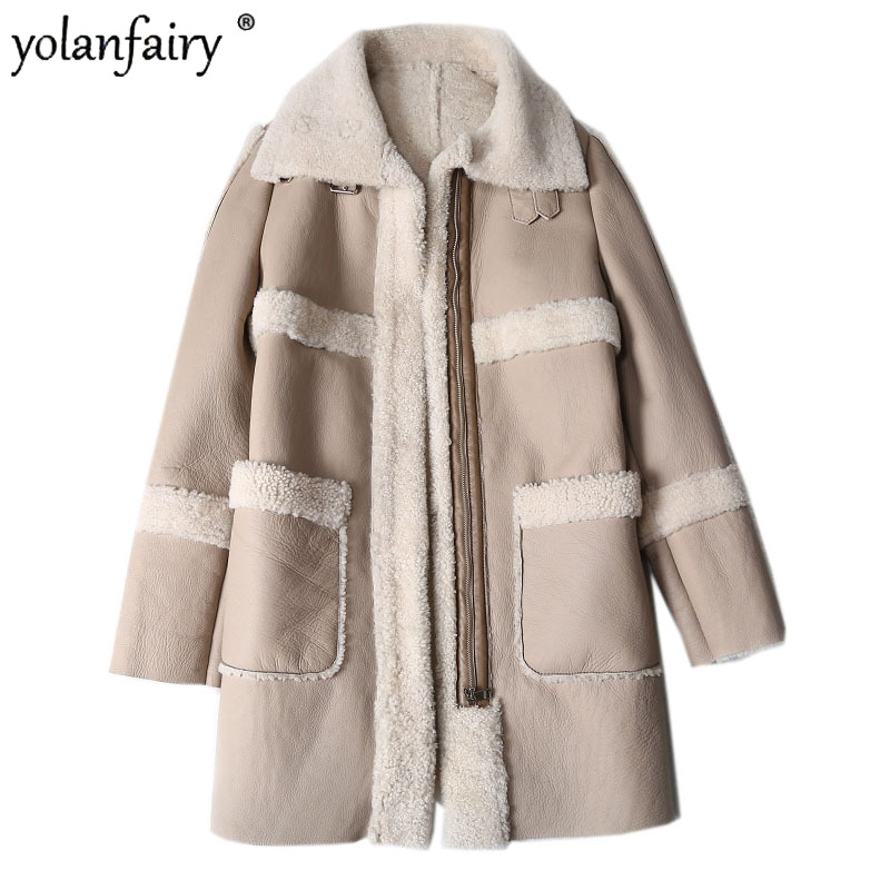 Genuine Leather Jacket Women Real Fur Coat Sheep Shearling Winter Clothes Women Lamb Fur Coats and Jackets Women 2020 KJ5189