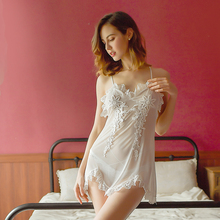 цена на Sexy Mousse Sexy nightgowns Women lingerie Mesh lace Deep V Embroidery flower Sleep wear Short dress Backless Young girl New