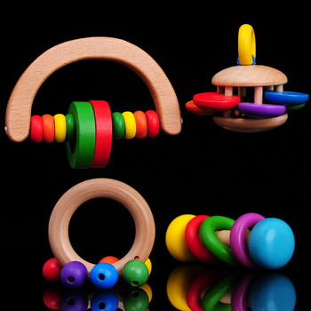 Free shipping children's music wooden baby hand bell toys, rattles, with the rainbow bell Baby wooden toy the bell