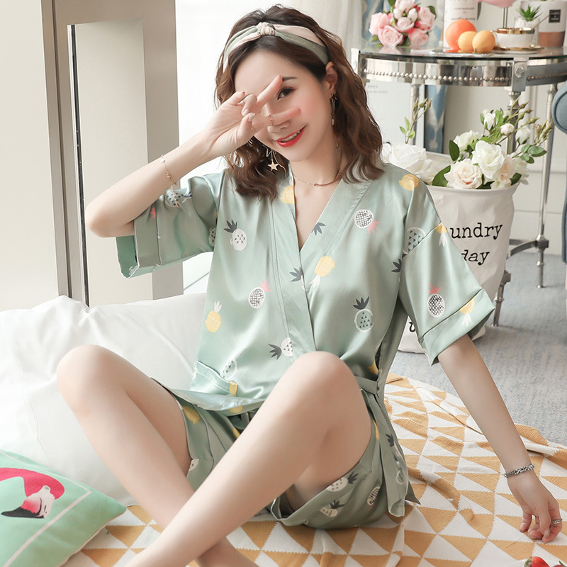 Viscose Pajamas Women's Summer Thin Section Short Sleeve Kimono Two-Piece Set Cute Korean-style Real Silk Large Size Students Ho