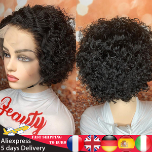 Atina Pixie Cut Short Curly 13X4 Lace Front Human Hair Wigs Bob Brazilian PrePlucked Remy Hair Closure Wigs 150 180 250 Density