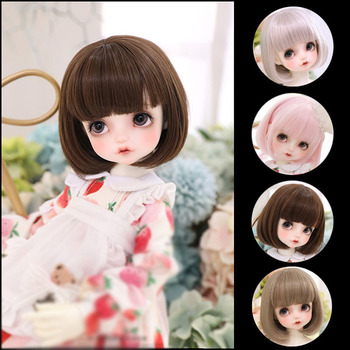 short bobo wig for bjd dolls 1 8 1 6 doll wig synthetic fiber doll wig high quanlity free shipping 1/3 1/4 1/6 1/8 BJD sd  doll wig black high temperature fiber heat resistant wire short curl bangs doll hair