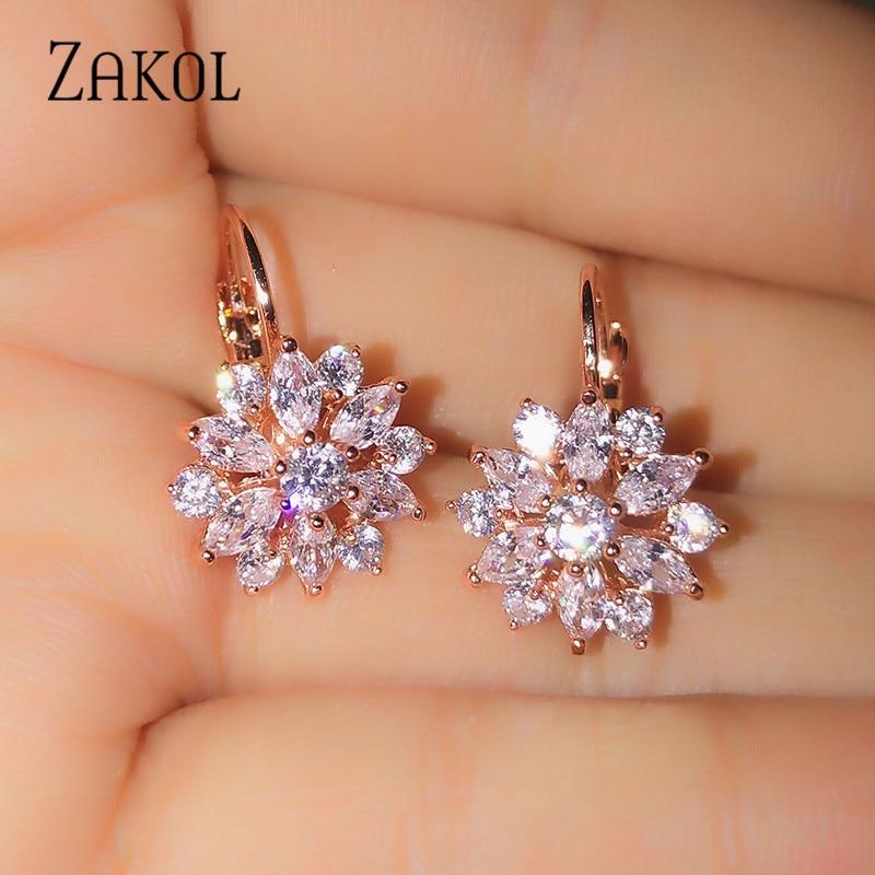 ZAKOL Fashion Rose Gold Color Hoop Earrings Flower Cluster Clear Crystal Zirconia Earrings For Women Jewelry Brincos FSEP609