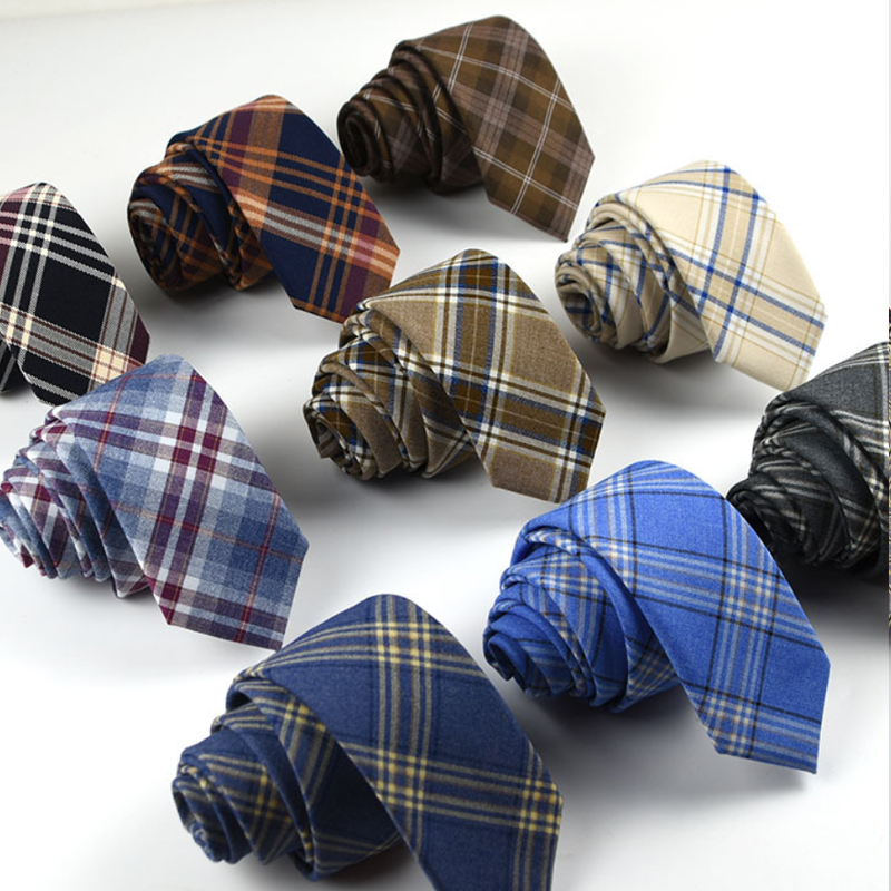 New Plaid Cotton Ties Skinny Causal Neck Tie For Men Suits Mens Slim Necktie For Business Cravats 7cm Width Groom Neckties
