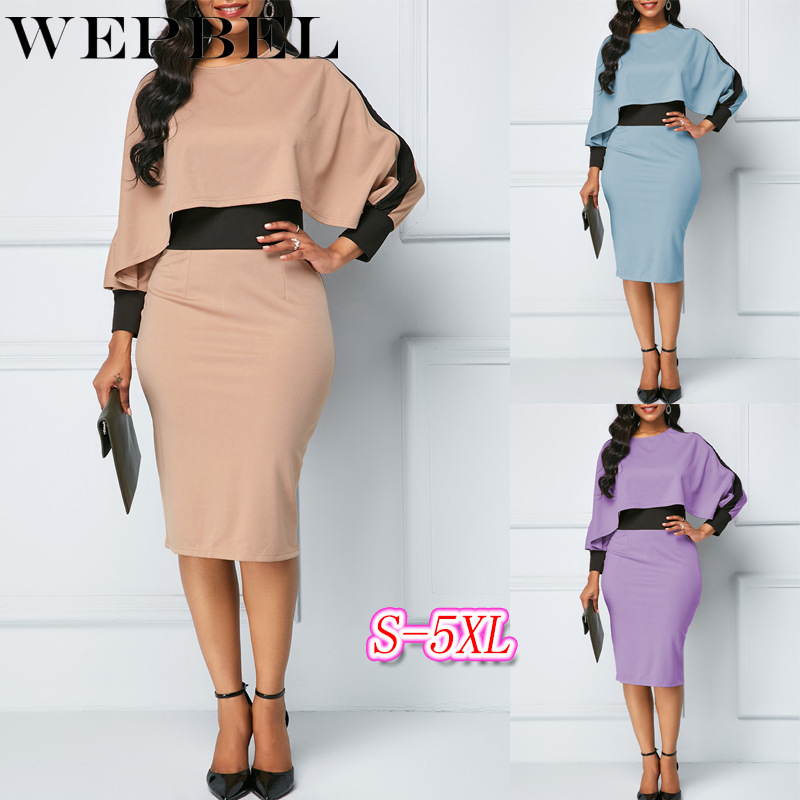 WEPBEL Plus Size Women Dress Pacthwork Sexy Fashion Casual New Full Sleeve Summer Sexy O Neck Lady Dresses