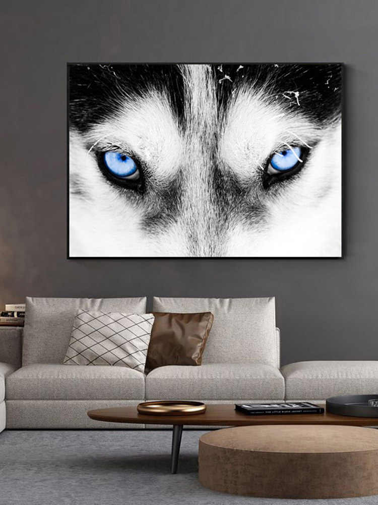 Wolf Head Animal Poster Abstract Nordic Art Canvas Print Creative Wall Picture