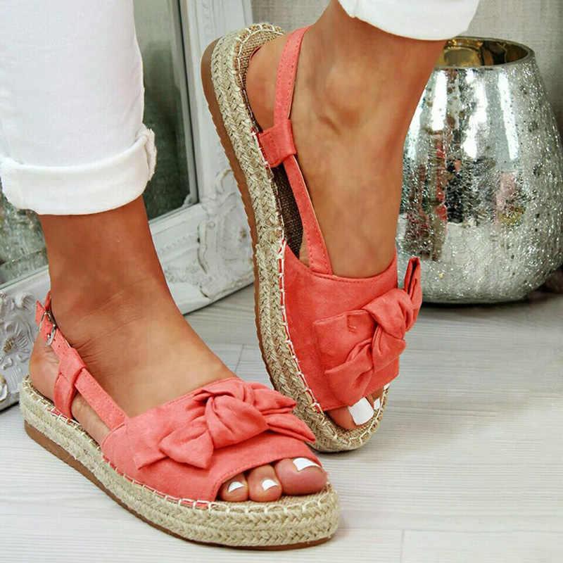 2020 yeni kadın yay düz sandalet kadın moda dikiş Casual kadın Peep Toe rahat ayakkabılar kadın ayakkabıları artı boyutu