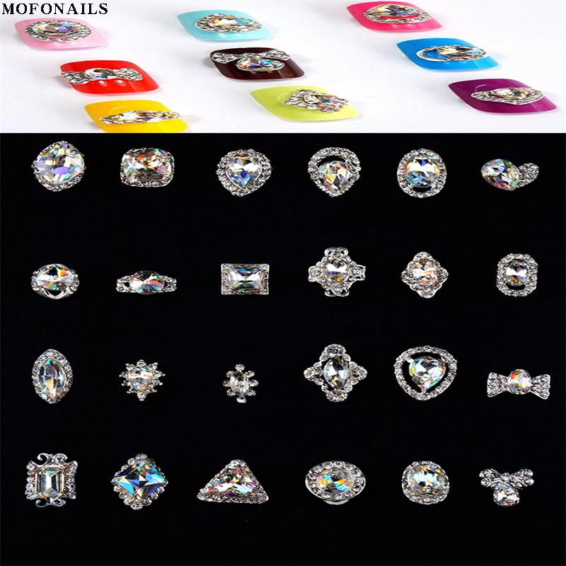 10pc Nail Jewelry Rhinestone 3D Alloy Nail Strass Crystal Jewelry Stone K9 Glass Rhinestone Nail Accessory Rhinestone Decoration