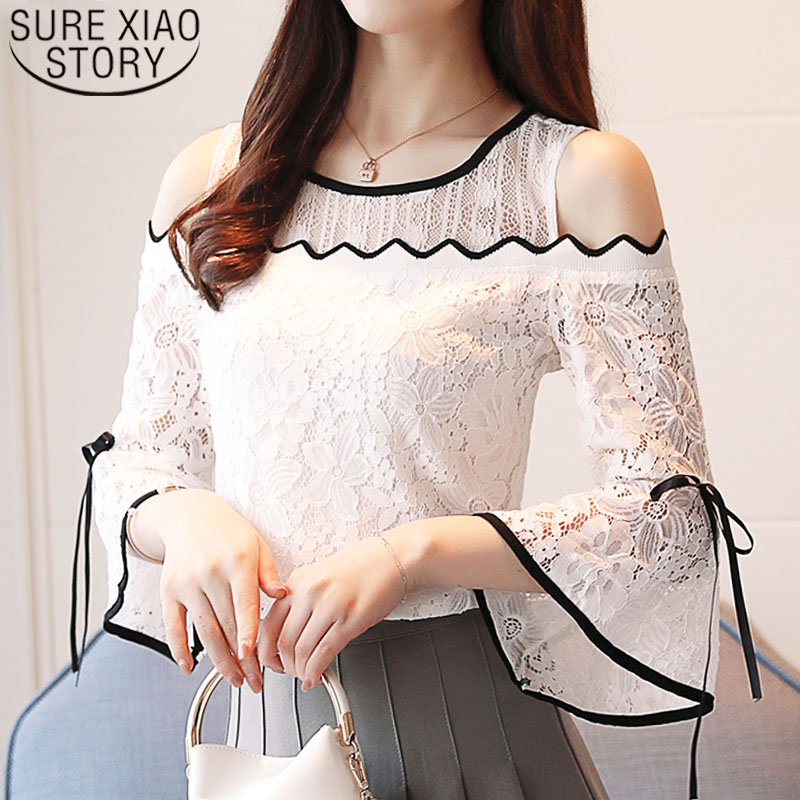 2020 Women Fashion Clothing Lace Chiffon Stitching Blouse Flare Sleeve Top Lace Blouse Women Strapless Sexy Ladies Tops D597 30