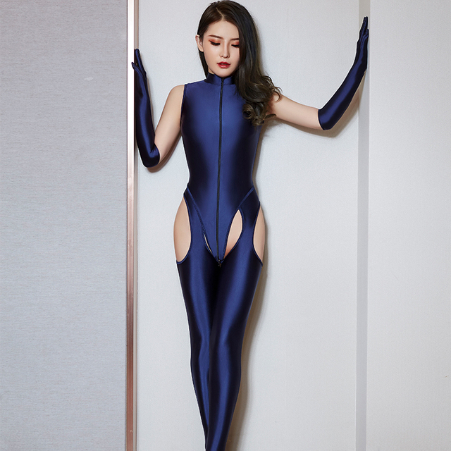 High Elasticity Woman Sexy Sets Temptation Zipper Bodysuit Hollow Out Open Crotch Pants Porn Club Costume Oil Glossy 4 Pce Sets 6