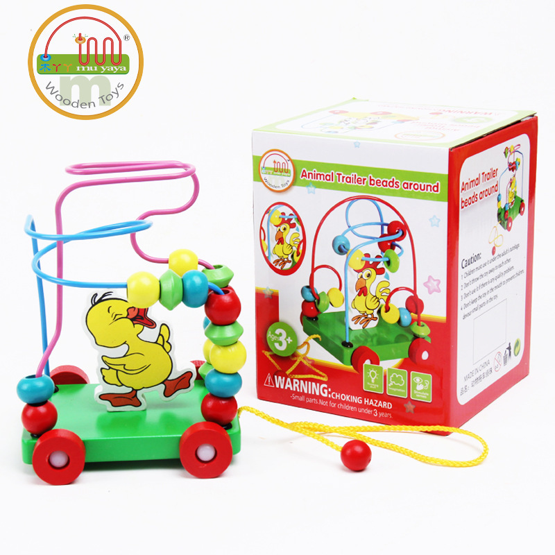 Wooden Children Bead-stringing Toy Beaded Bracelet CHILDREN'S Early Childhood Educational Toy Animal Trailer Bead-stringing Toy