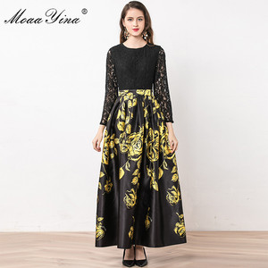 Image 3 - MoaaYina Fashion Designer Dress Summer Women Long sleeve Lace Patchwork Floral Print Ball Gown Elegant Dress