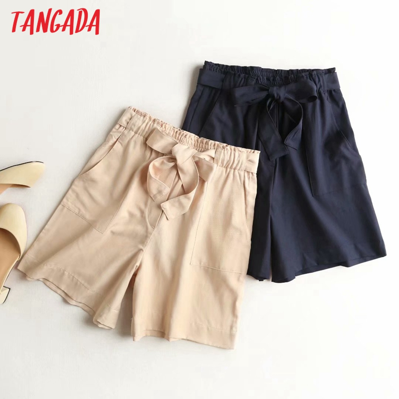 Tangada Women Elegant Summer Viscose Shorts With Slash Pockets Female Retro Basic Casual Shorts High Quality 4C1