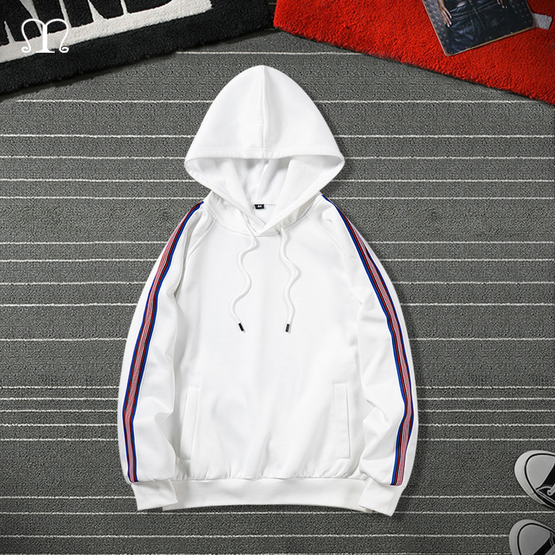 Hip Hop Hooded Hoodies Men 2020 Autumn Spring Casual Striped Streetswear Sweatshirts Male White Black Pullover Outwear Plus Size