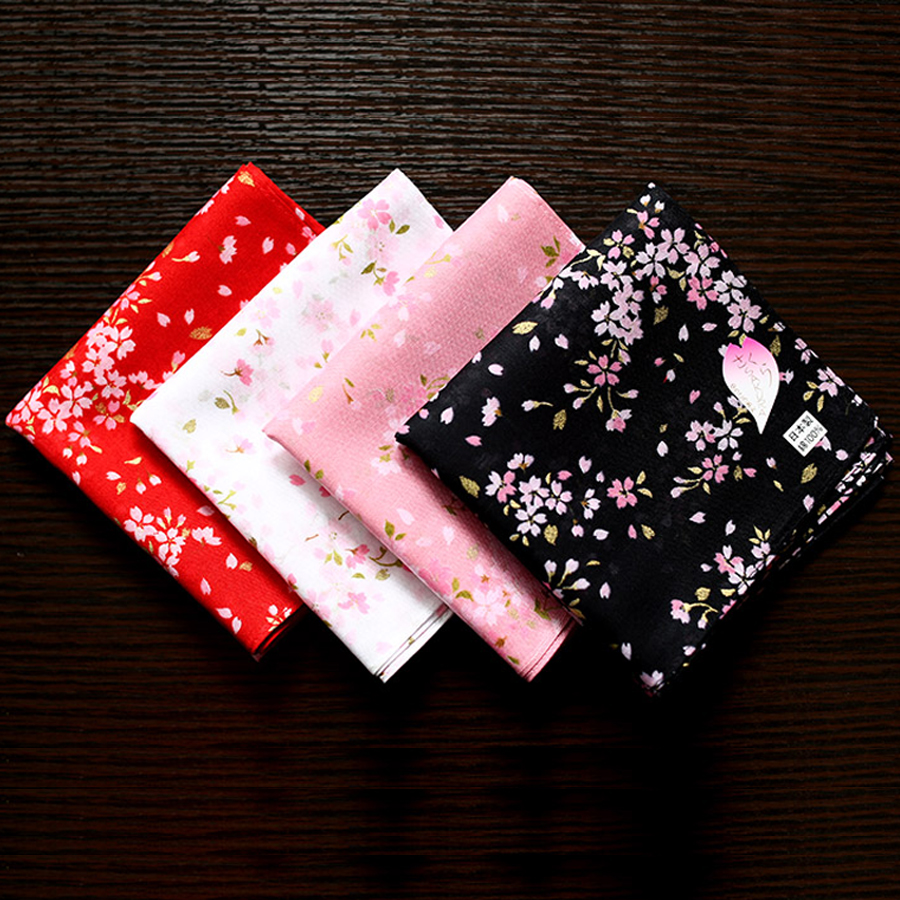 48*48CM Hot Cherry Blossoms Ladies Handkerchiefs Beautiful Gift For Women 100% Cotton Multiuse Casual Square Hankies Girls Gifts