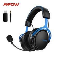 Mpow ar 2.4g sem fio jogos fone de ouvido para ps5/ps4/pc computador fone de ouvido com cancelamento de ruído microfone transmissor usb para computador gamer