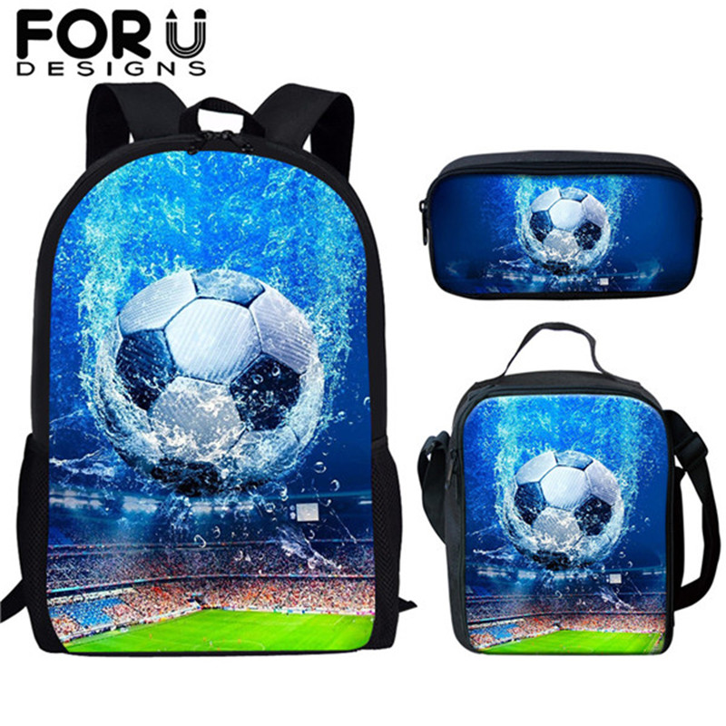 FORUDESIGNS Children Primary School Bags For Boys Sport Foot Ball Pattern Schoolbag Backpack Kids Bookbag Mochila Escolar Set