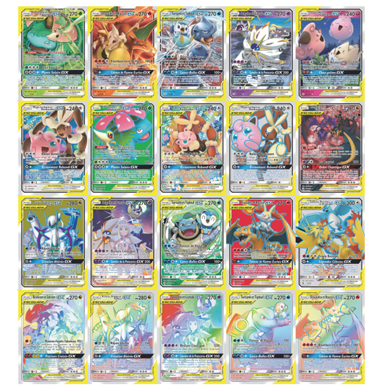 300 Pcs Pokemon French Cards TAG TEAM GX MEGA Shining Card Game Battle Carte Trading Game Children Pokemons Carte Francaise Toy