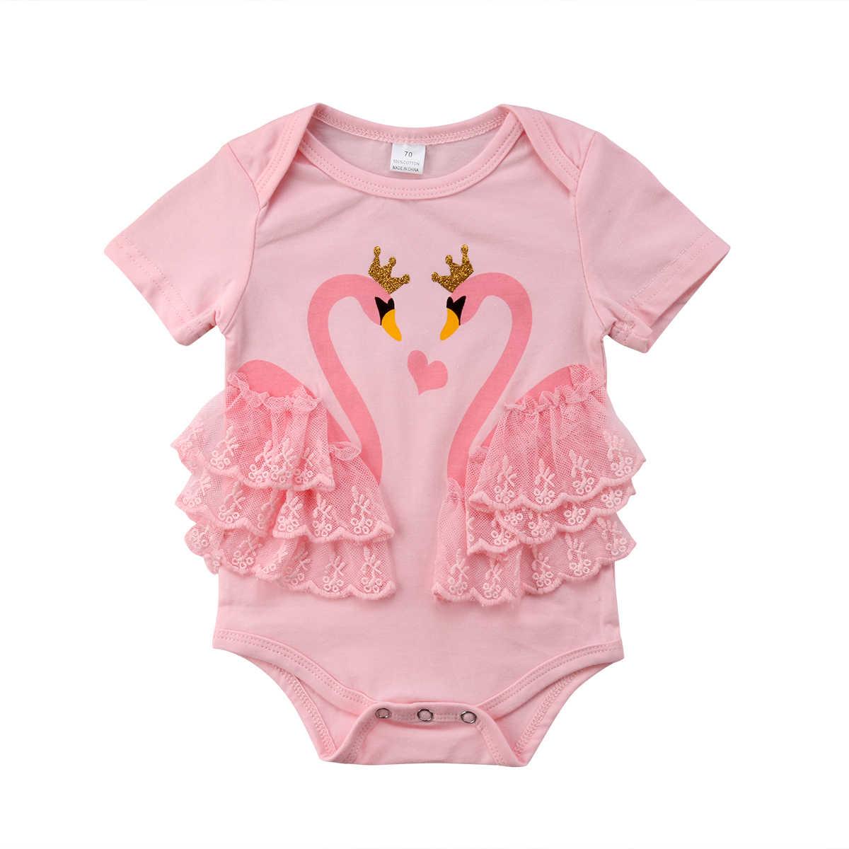 Lucu Bayi Bayi Gadis Swan Baju Renang O Leher Merah Muda Hitam Baju Monyet Bodysuit Anak Bayi Baju Renang Baju Renang