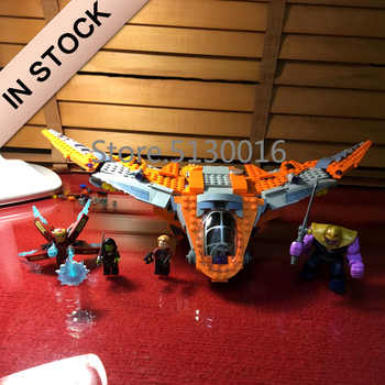 En existencia 07103 película Marvel The Thanos Ultimate Battle ship 755 Uds bloques de construcción compatibles 76107 ladrillos superhéroes vengadores