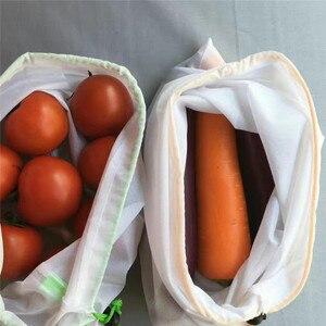 Image 5 - Sacs réutilisables pour fruits et légumes, lavables, sacs en mailles écologiques pour épicerie, rangement de jouets pour fruits et légumes, 1 unité