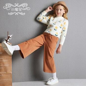 Kid Straight Wide-Leg Casual Pants Autumn & Winter Outer Wear New Style Western Style Woolen Capri Pants