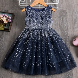 3-8 Years Kids Dress for Girls Party Dress Navy Blue Children Clothing Shiny Sequins Princess Pageant Frock Birthday Costume
