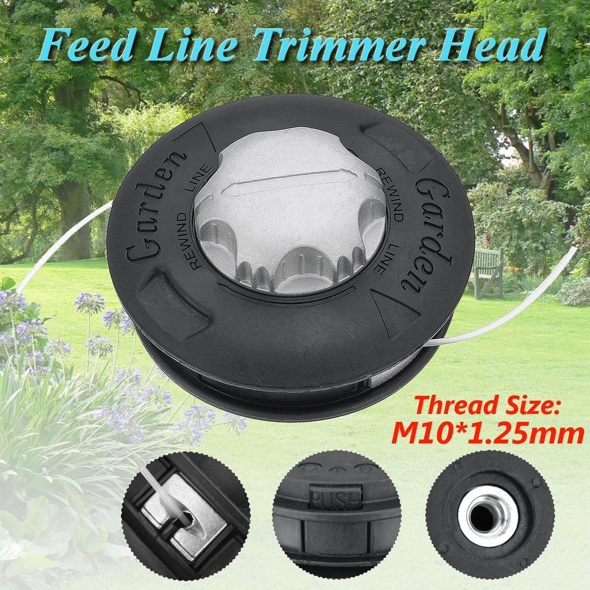 Alminum Abs Grass Trimmer Head M10x1.25 Nylon Brush Mower Bump Spool 2 Lines Cutter Head Thread Line String Saw Grass