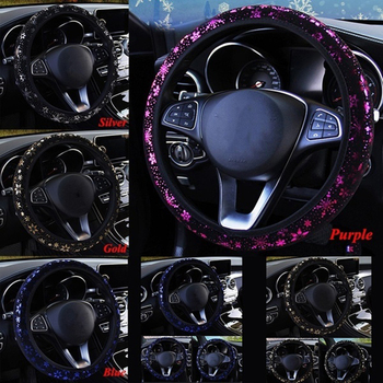 38cm Car Steering Wheel Cover for Women Gilded Snowflake Design Without Inner Ring Elastic Band Cover Auto Product image