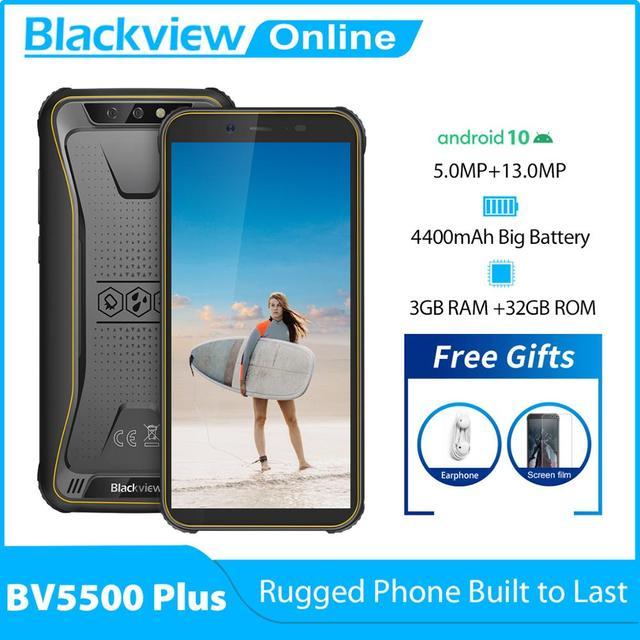 Blackview 2020 New BV5500 Plus Android 10.0 3GB+32GB IP68 Waterproof Rugged Smartphone 5.5'' Full Screen 4400mAh 4G Mobile Phone 1