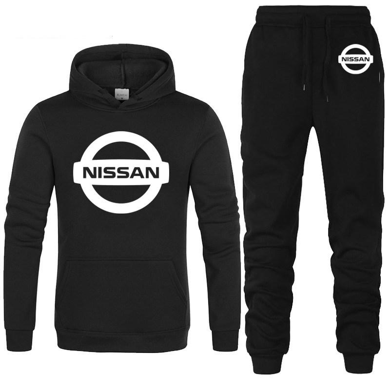 Hoodies Men Nissan Car Logo Printed Unisex Sweatshirt Fashion Men Hoodie Hip Hop Harajuku Casual Fleece Hoodies Pants Suit 2Pcs