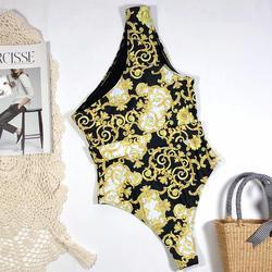 Retro wydrukowano jeden kawałki stroje kąpielowe kobiety body strąckąpielowy drążą strój kąpielowy wysokiej talii bikini lato plaża nosić wyściełane 3
