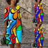 Plus Size Casual V Neck Abstract Printed Dresses