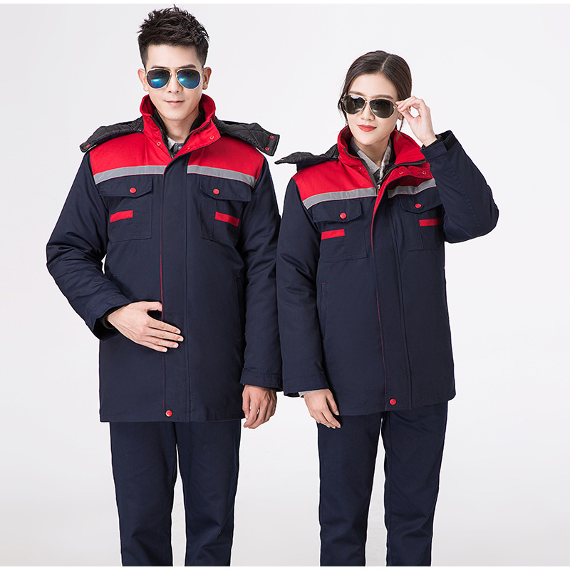 jaqueta de algodao quente de inverno com tiras reflexivas roupa de trabalho forro quente destacavel