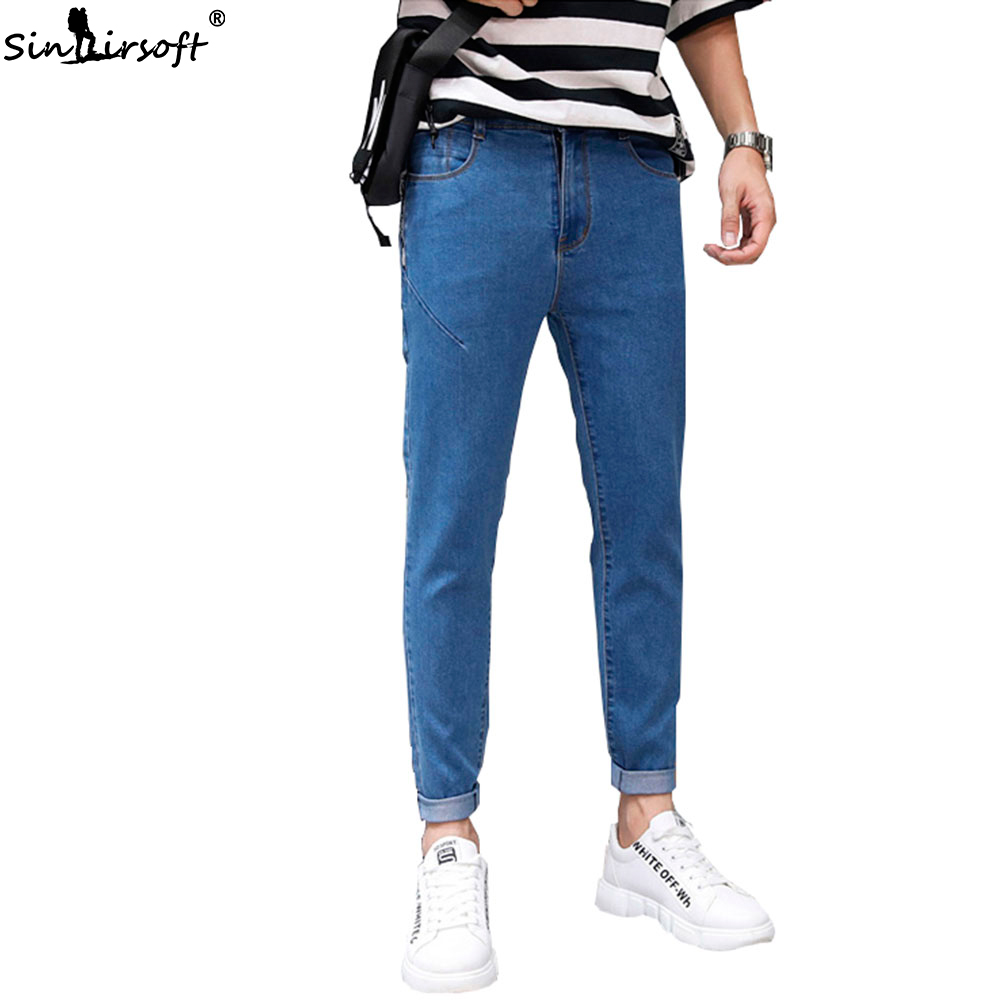 Denim Men's Skinny Pencil Pants Slim Fit Harlan Casual Jeans Male Letter Side Stripe Autumn And Winter 2019 Fashion Trousers New