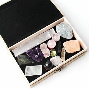 1 Набор, 14 шт., натуральный хрустальный шар, аметист, селестит, кластер, оригинальный камень, шероховатый минеральный образец, reiki healing, подаро...
