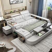 Frame da cama camas mobília do quarto inteligente кровать двуспальная aceso camas muebles de dormitorio سرير мебель jogo de quarto cama de casa|Camas| |  -