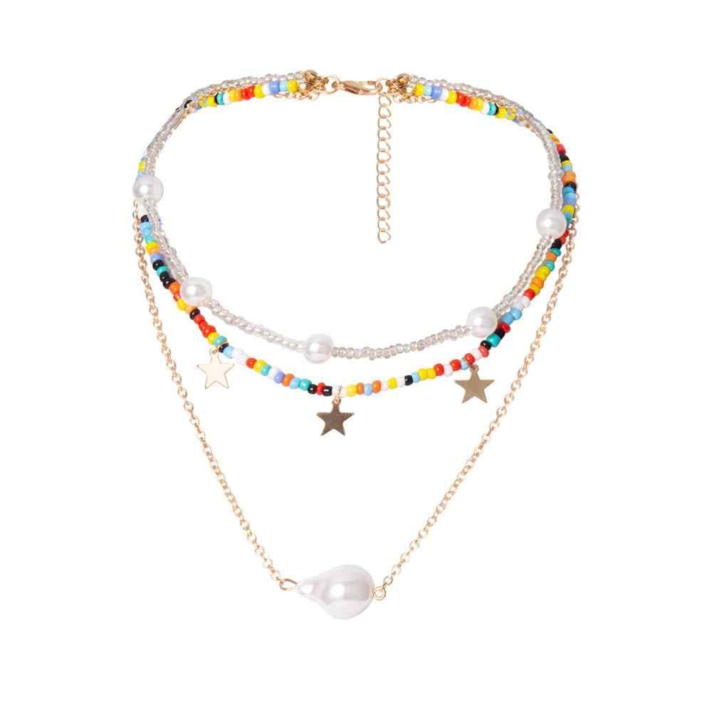 Multi Layer Baroque Pearl รัก Choker สร้อยคอผู้หญิงของขวัญ Punk Rainbow Star พู่สร้อยคอลูกปัดหวานแฟนเครื่องประดับ