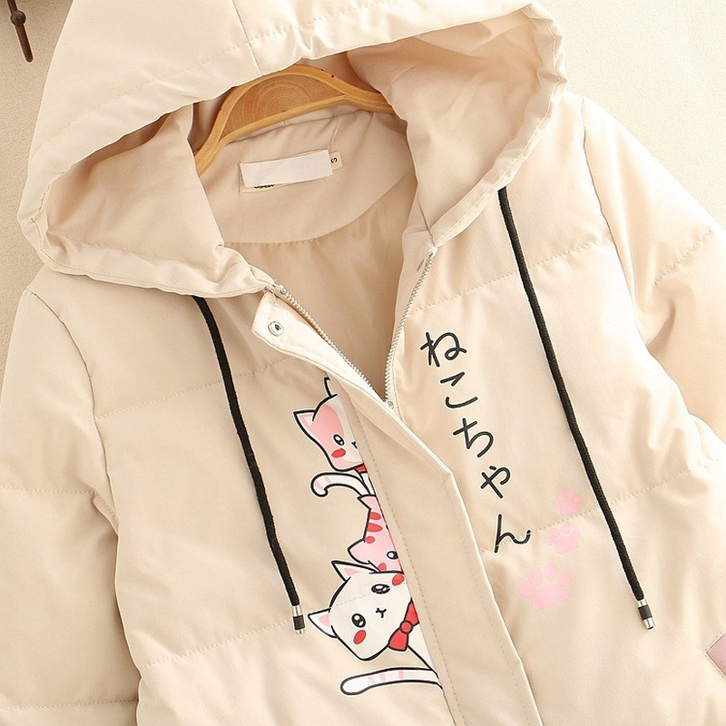Lifestyler Regular Girls Cartoon Hooded Coat Fashion Button Jacket Warm Zipper Trench Outwear Clothes