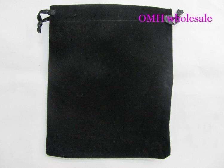 OMH 10pcs 5x7cm 7x9 10x12cm Black Silk Cloth Flannelette Suede Jewlery Velvet Packing  Scald Golden Pouch  Gift Bags BZ05